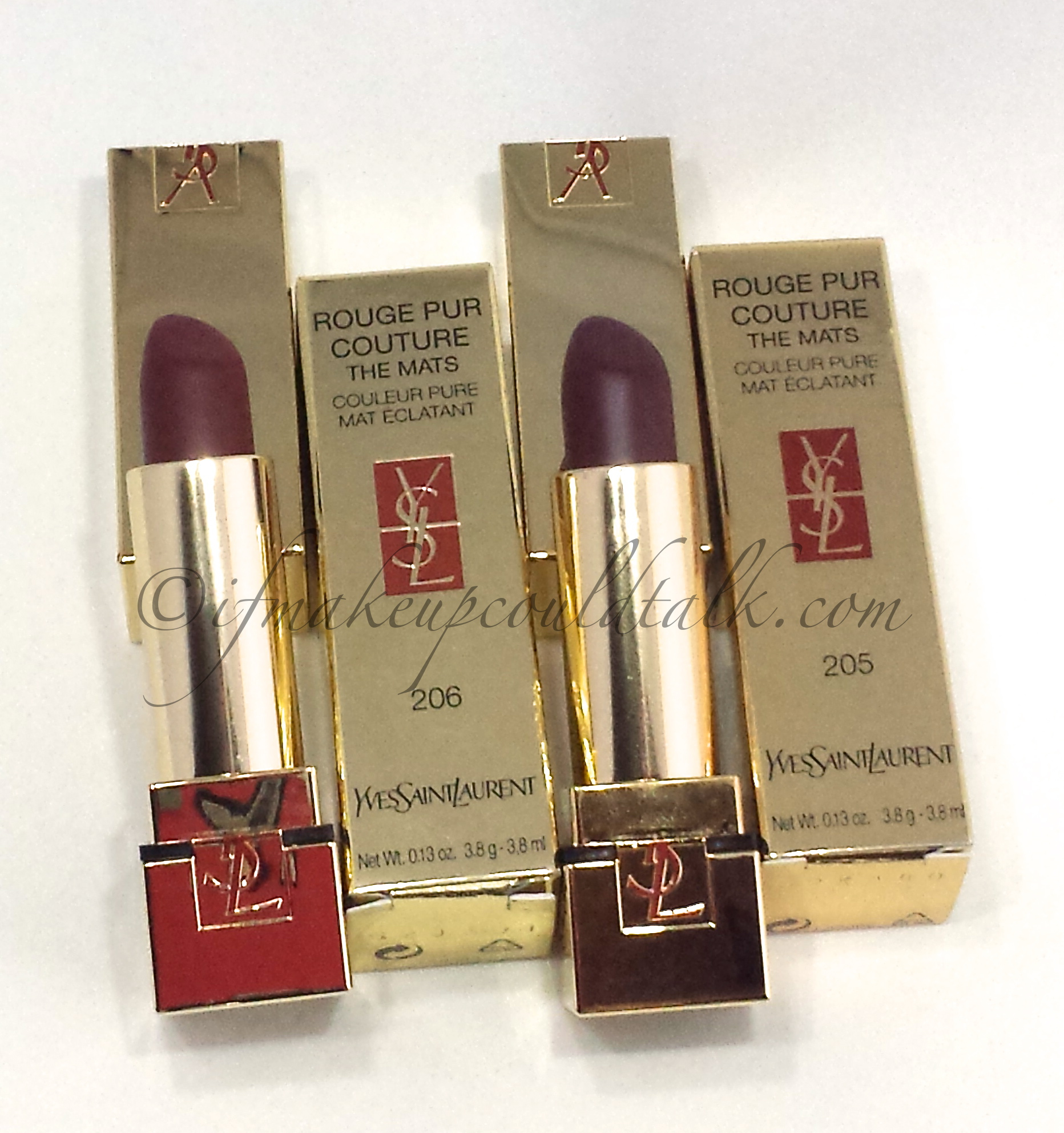 YSL Rouge Pur Couture The Mats 206 and 205 review and photos.