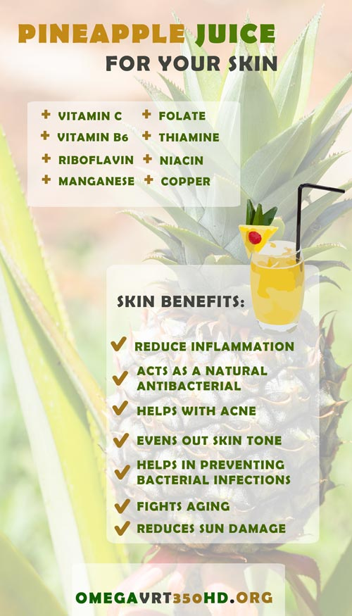 pineapple juice benefits infographic