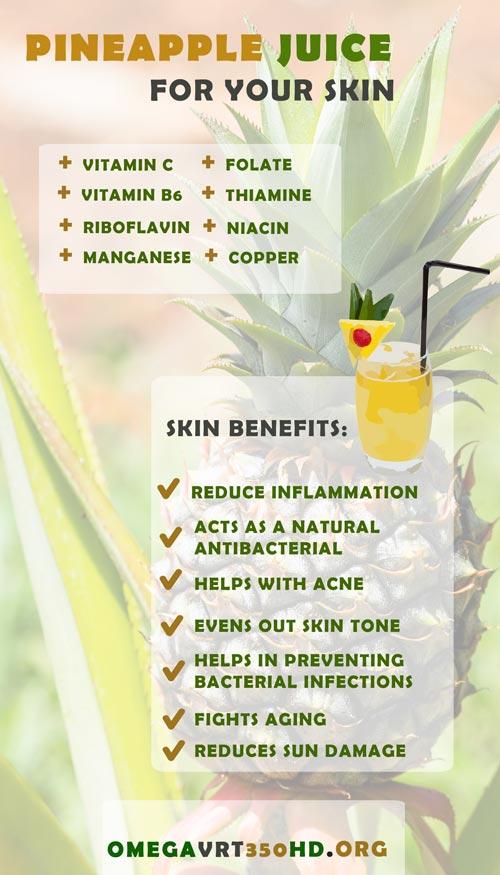pineapple juice benefits infographic