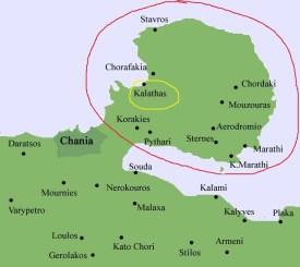 Akrotiri peninsula (red circle) and Kalathas, where we stayed (yellow circle), Image Source: Hellenica