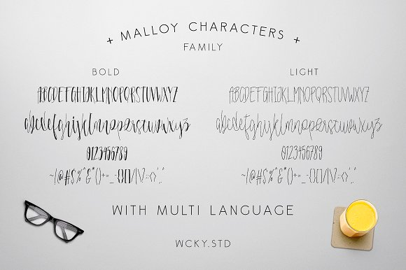 Malloy Font with Elements