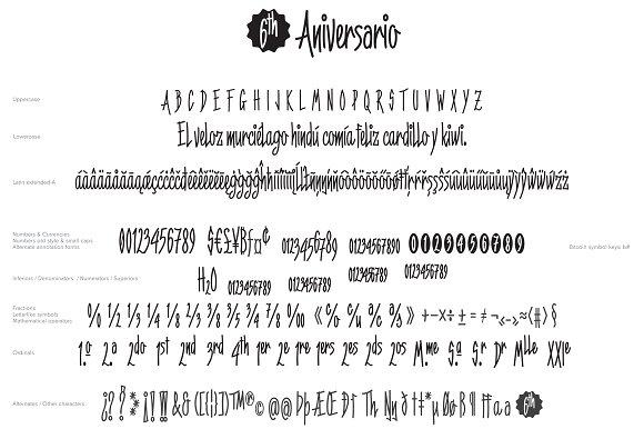 6th Aniversario a condensed font