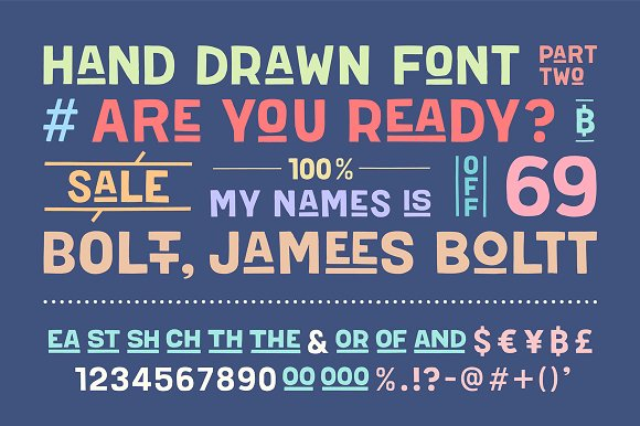 Hand-drawn font Boltt, James Boltt