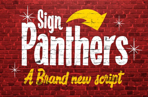 Sign Panthers Brush Script Vintage