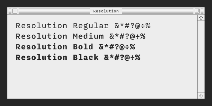 Resolution Font Family