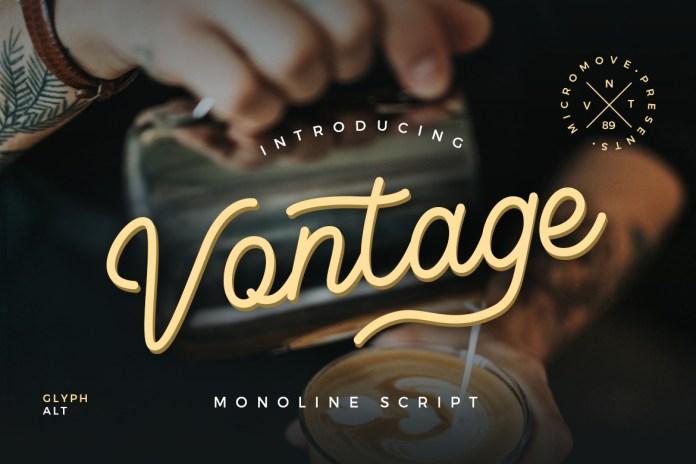 Vontage - Monoline Script Font
