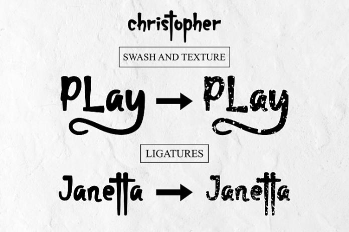 christopher-display font and texture versionRegular Font