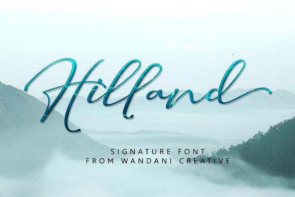 Hilland   Signature Font