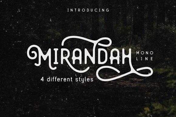 Mirandah   Monoline Font Family