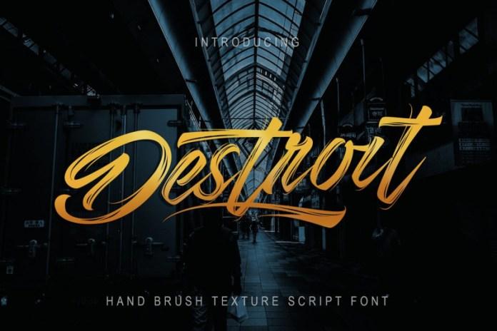 Destroit   Hand Brush Texture Font