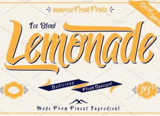 Lemonade font with 5 Badges Bonus