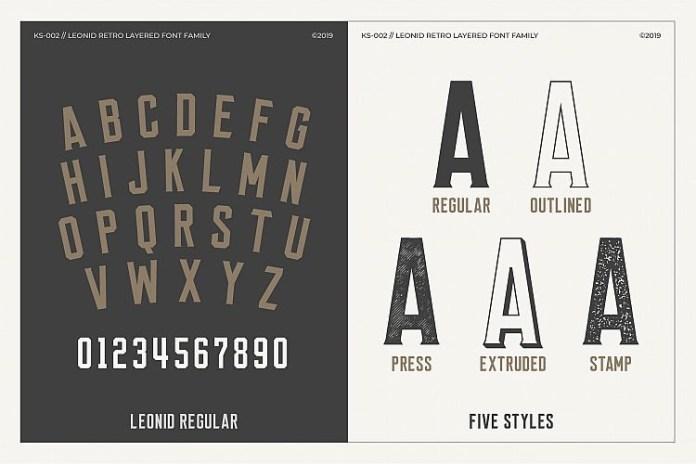 Leonid Retro Layered Font
