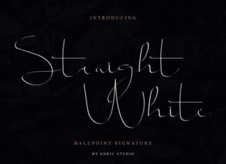 Straight White Font