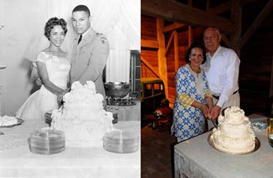 """It seems many of you enjoyed seeing Alma and my wedding picture from 50 years ago. So we thought we'd share this ""then and now"" picture. Notice that friends of ours had a replica of our wedding cake made to celebrate our 50th! """