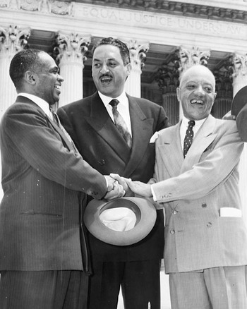 Picture on right: George E.C. Hayes, Thurgood Marshall, and James Nabrit, congratulating each other, following Supreme Court decision declaring segregation unconstitutional.