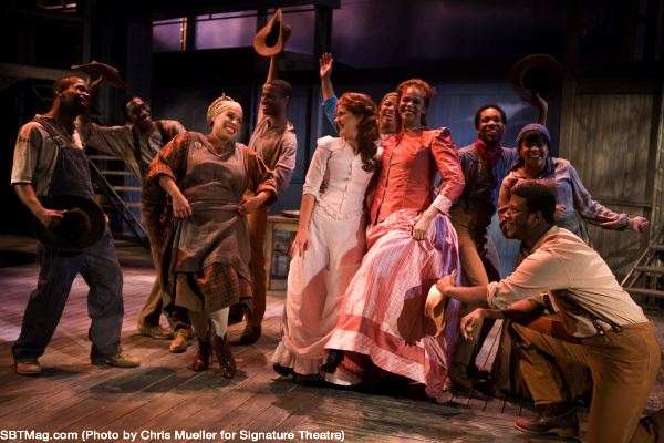 VaShawn McIlwain as Joe, Delores King Williams as Queenie, Stephanie Waters as Magnolia, Terry Burrell as Julie, and ensemble member Kevin McAllister in Showboat