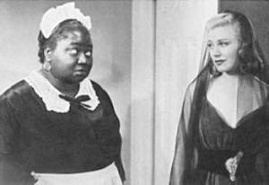 """In the first of two films Hattie made at RKO with Ginger Rogers in 1938, VIVACIOUS LADY (right), she plays the small and rather unremarkable role of a washroom attendant. Later that year in CAREFREE (1938), Ginger's eighth musical with Fred Astaire and a decent screwball comedy, Hattie once again makes a very minor contribution, this time as an attendant (named """"Hattie"""") at the country club where most of the plot takes place."""