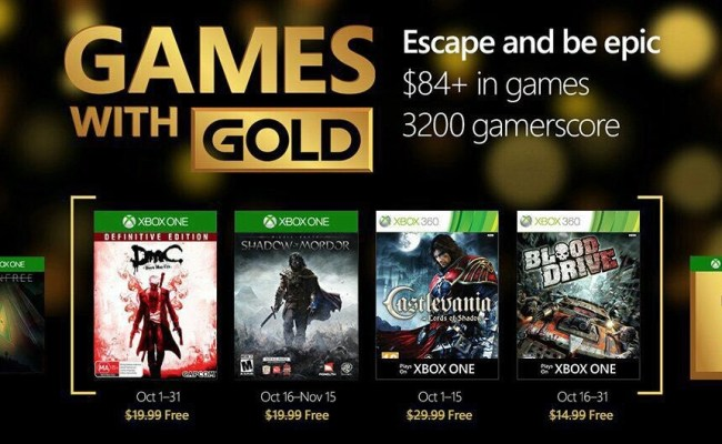 Rumor Games With Gold De Octubre Xbox Play Anywhere
