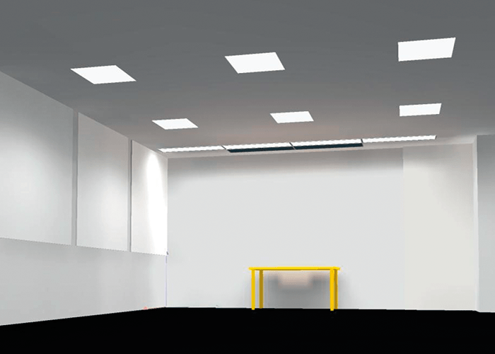 Figure 1: DIALux simulation of a space with four wall-washer light fittings. Image courtesy of BRE.