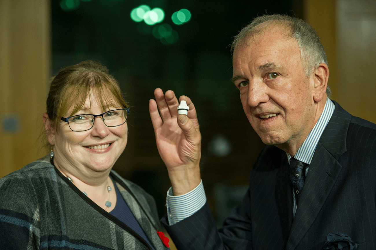 Clare Adamson MSP with Dave Atkinson co-inventor and founder of Bluerad.