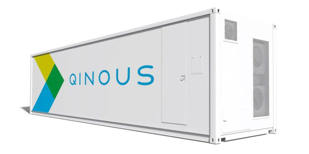 QINOUS energy storage systems are housed in insulated shipping containers, with fire protection provided by Novec 1230 from 3M.