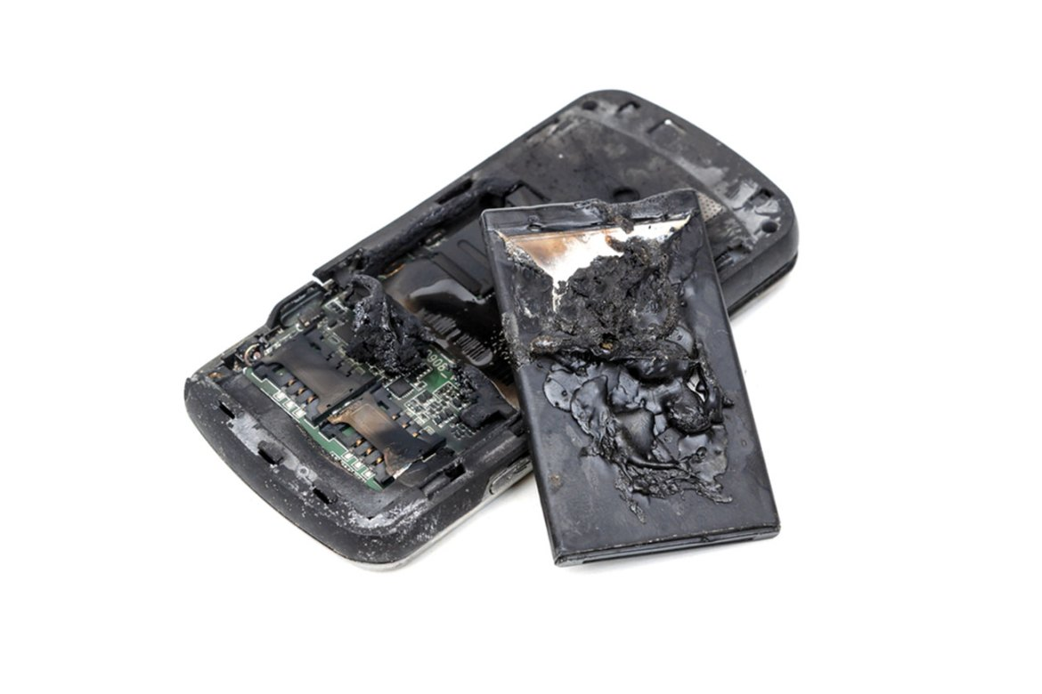 Damaged battery and phone following lithium battery fire.