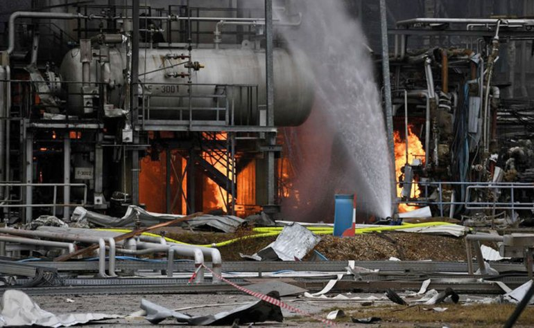 Fig. 2: Devastation after explosion and fire in a petrochemical plant.