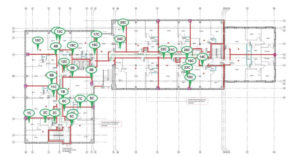 A full floor plan with many areas of work completed by a passive fire installer (Green pins).