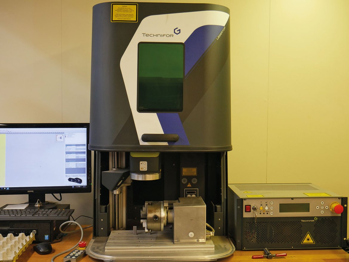 This Technifor Laser machine engraves each nozzle in preparation for the testing stages.