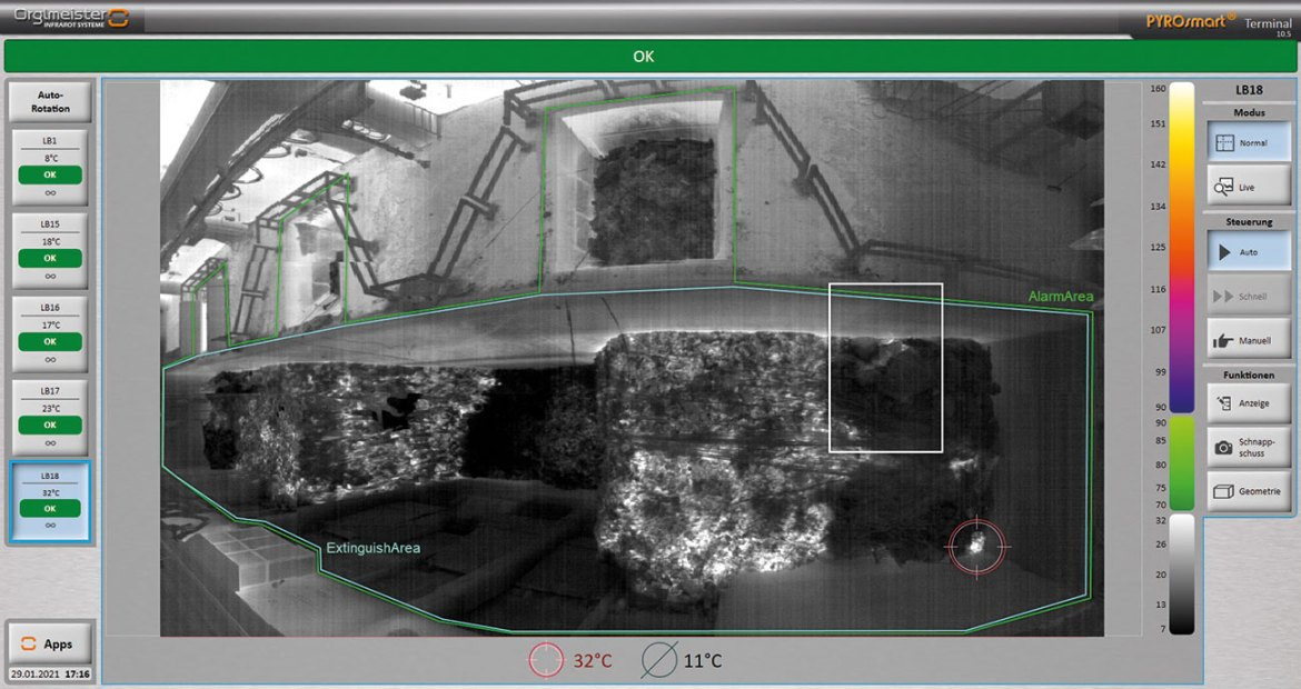 Figure 3: Video and high-resolution radiometric panorama from a PYROsmart heat detection system.