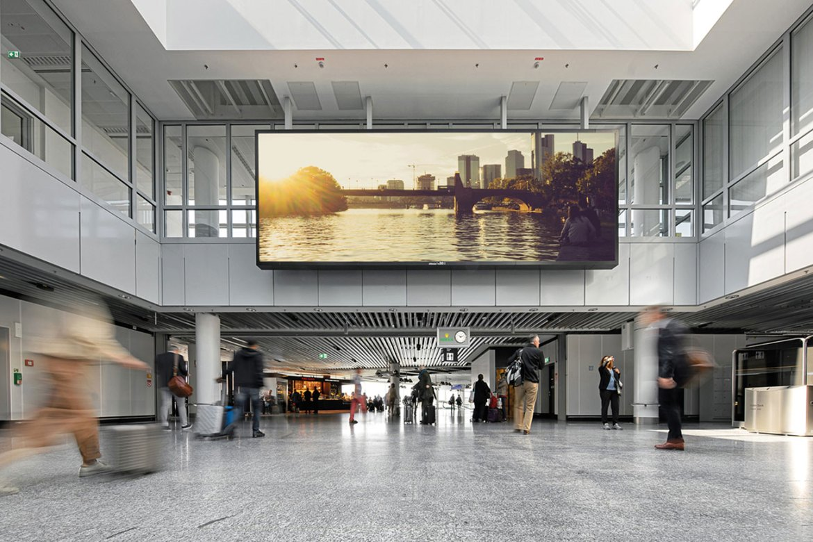 LED advertising wall, realized by BenHur GmbH, with E-Bulbs inside at Frankfurt International airport.