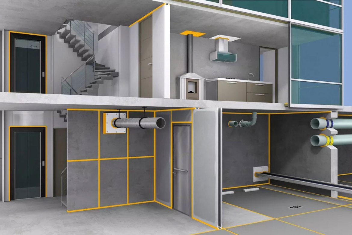 Sika's comprehensive range of passive fire protection solutions can restore the fire resistance of walls and floors disrupted by building joints, linear seals, cavity barriers or penetration services.
