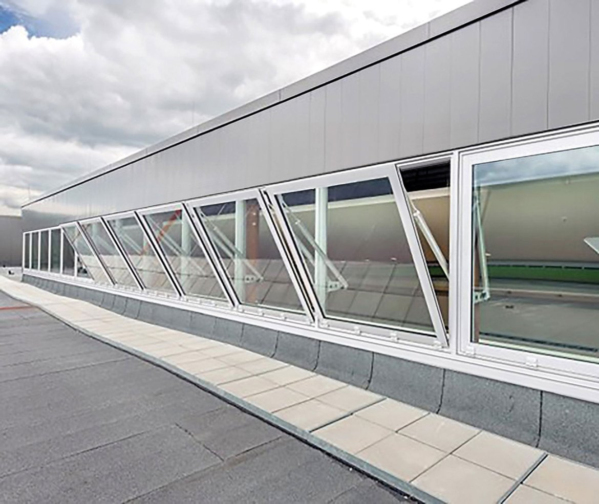 Natural smoke ventilators mounted to allow smoke to leave direct to outside.
