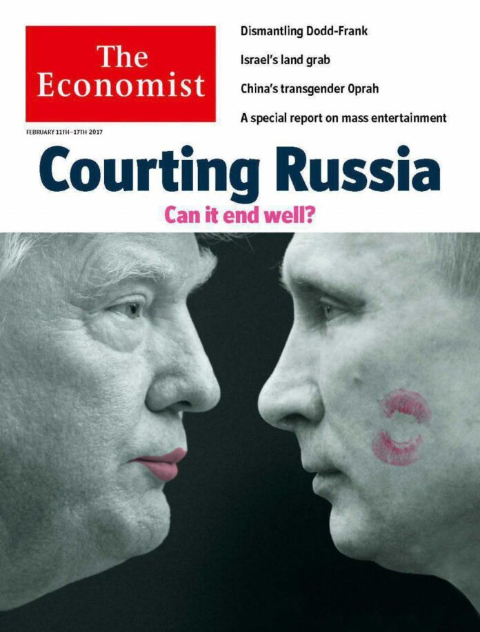 Trumps Kiss on Putins Cheek in The Economists Latest Cover