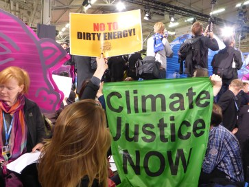 Protest after the release of the latest draft agreement: among others intergenerational equity was dropped from the draft text.