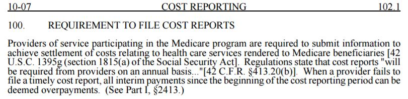 PRM 15, pt II - Requirement to file a Cost Report