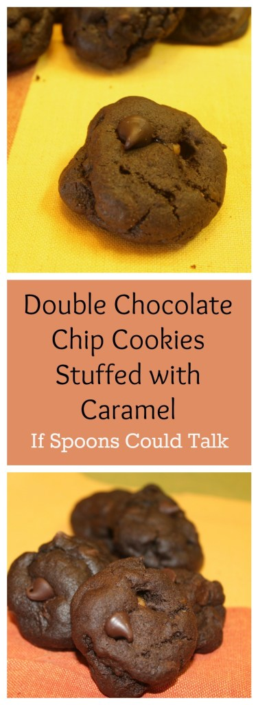 Chocolate and caramel are great friends in my world and I have found very few times that they do not go together. This cookie is the best of both, a decadent chocolate cookie with chocolate chips with a center full of sweet soft caramel.