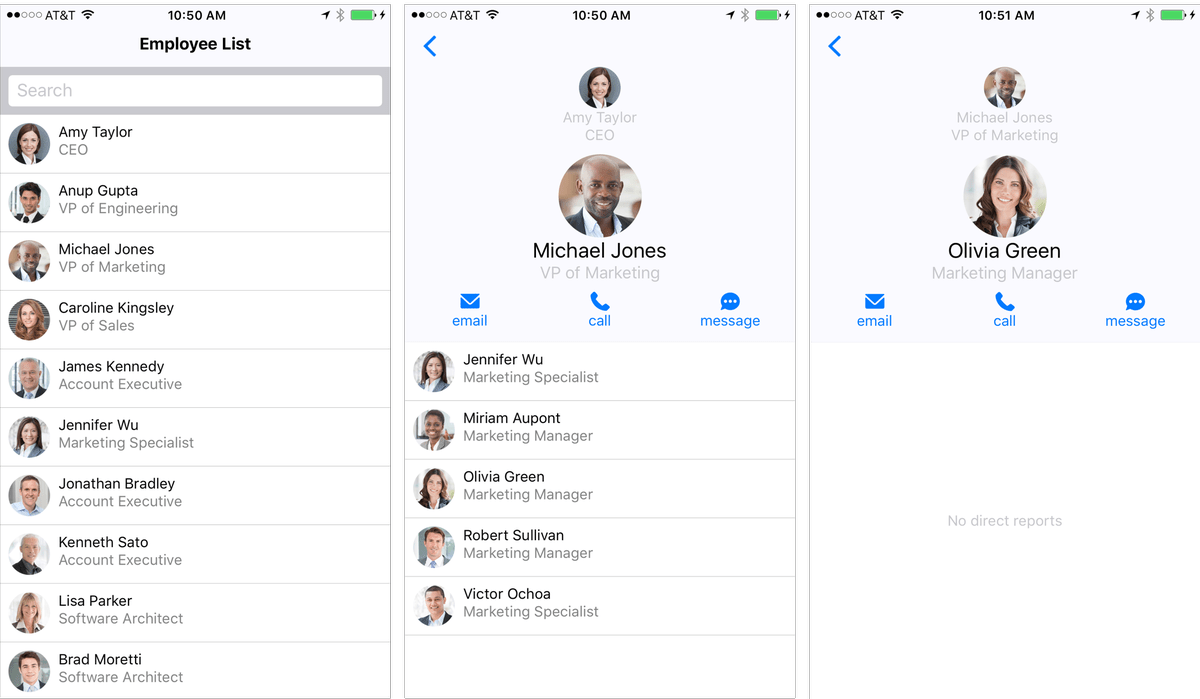Employee Directory : Sample Application with React Native