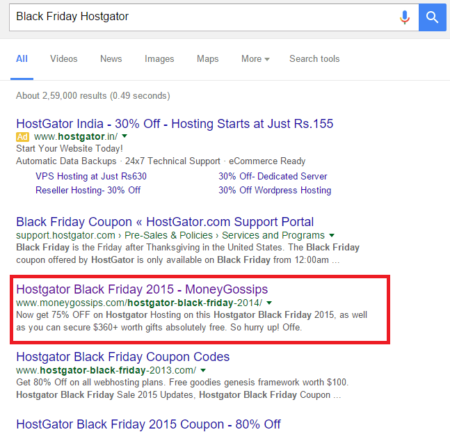 Black Friday Google Ranking