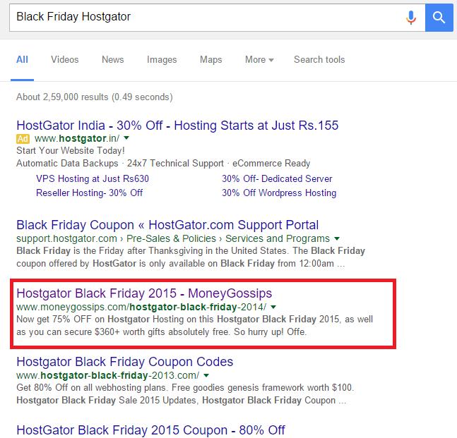 Black Friday Google Ranking