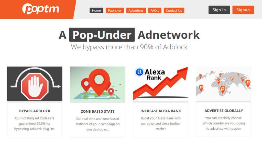 pop under ad network