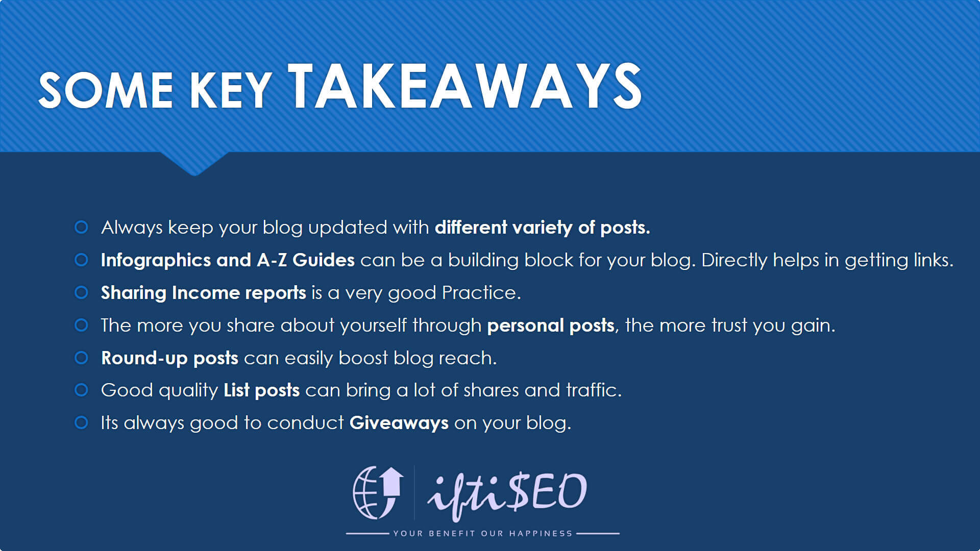 iftiseo post takeaways