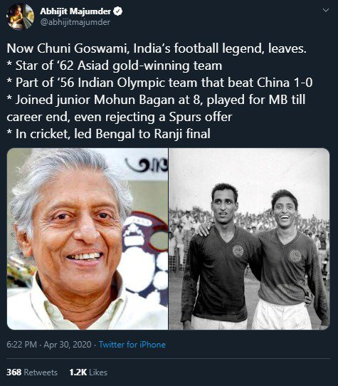 Condolences pour in as legendary Chuni Goswami passes away img 20200430 wa00152247040158482727649