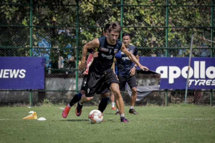 Csaba Laszlo - It is all about scoring now and getting the three points from tomorrow's game Chennaiyin FC forward Jakub Sylvestr in training scaled
