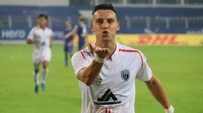 Luis Machado celebrates a goal for NEUFC