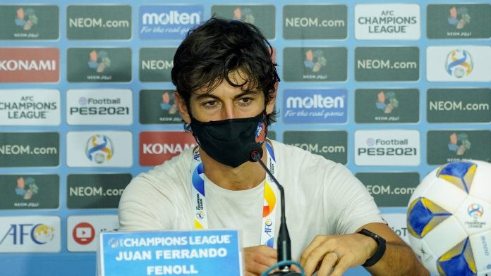 Juan Ferrando addresses the media before FC Goa's game against Al Wahda