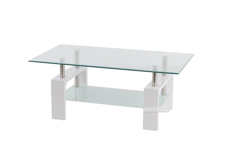 horizon glass coffee table white