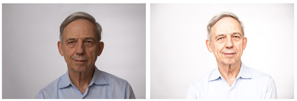 Nicht zu schnell aufgeben. Im linken Foto ist das Gesicht noch zu wenig beleuchtet und das Motiv zu dunkel. ALso mehr Licht auf das Motiv geben oder eine andere Blende wählen!