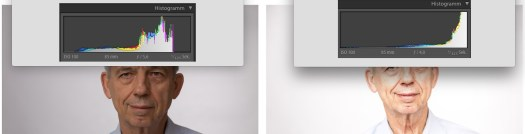 Was passiert mit dem Histogramm für ein korrektes High-Key Foto? Es schiebt sich nach rechts!