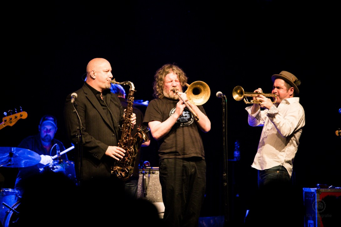 The horn section from the Asbury Jukes